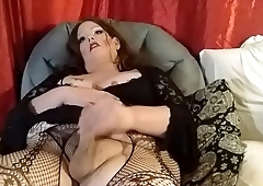 bbw trans jerking her small cock
