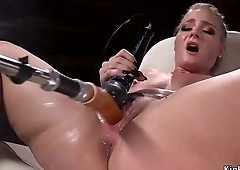 Hot ass blonde squirter fucks machine