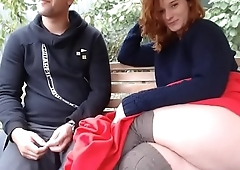 Redhead flashing outdoor with neighbor on Bbwaho.com to suck