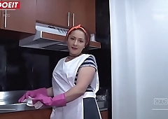 Big Booty Colombian Teen Maid Cleans And Gets Fucked!