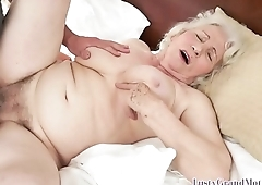 Hairy granny plowed after spreading her legs