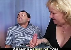 Very old busty blonde grandma swallows two cocks