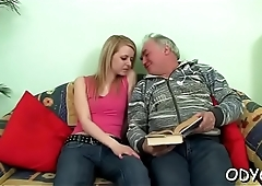 Stunning old and young action with sexy babe seducing dad