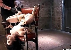 Hairy pussy hogtied beauty tormented