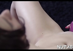 Teen moans with joy in her solo masturbation act