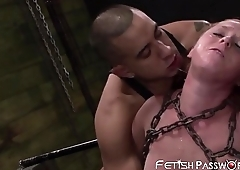 Chained redhead Autumn Kline doggystyled before facial