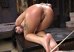 Hot dark haired babe fucked at training