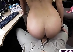 Pretty coed gets screwed by pawn keeper at the pawnshop