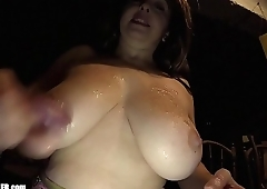 Busty Mom with Huge milf Boobies eats jizz out of her own cleavage. Homemade titty fucking. Amateur spunk swallowing. Britney licks up the goo in a miniskirt and tight DD bra.