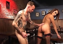 Dude anal toys tranny in a bar