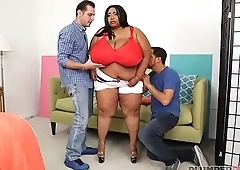 Huge Tit Ebony BBW Cotton Candi Gets Double Teamed