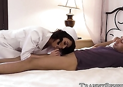 Irresistible shemale nurse blows dick before anal