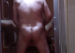 Amateur mature couple fucking in the shower with her husband - they fuck real dirty on the floor!