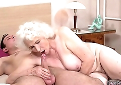 Gray-haired granny rides stiff wang