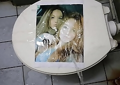 pissing on printed pic #4