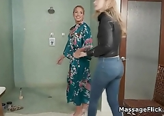 New masseuses blowjob training in the shower