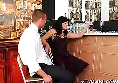 Sexy babe dominates her serf in hot femdom fetish act