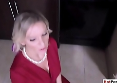 Stepson orders busty handcuffed MILF stepmother to suck