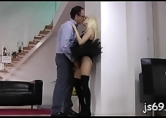 Hot fox pleasures her dad and leaves him gasping