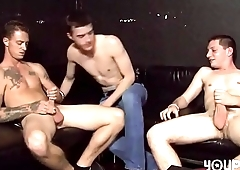 Hot threesome twinks orgy in club